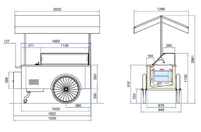 Dimensions chariot à glaces
