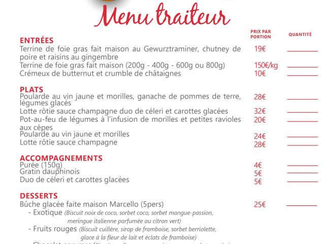 Menu traiteur